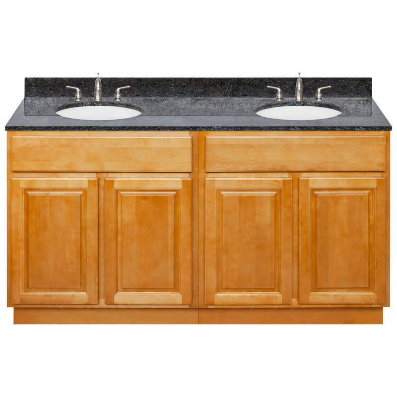 "Brown Double Bathroom Vanity 60"", Blue Butterfly Granite Top, Faucet LB4B BB618-60RC-4B"