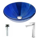 Anzzi Meno Series Deco-Glass Vessel Sink in Lustrous Blue with Enti Faucet in Brushed Nickel