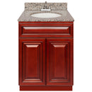 "Cherry Bathroom Vanity 24"", Burlywood Granite Top, Faucet LB5B BU254-24CH-5B"