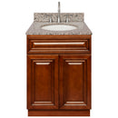 "Brown Bathroom Vanity 24"", Burlywood Granite Top, Faucet LB7B BU258-24GN-7B"