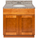 "Brown Bathroom Vanity 36"", Burlywood Granite Top, Faucet LB3B BU374-36NP-3B"