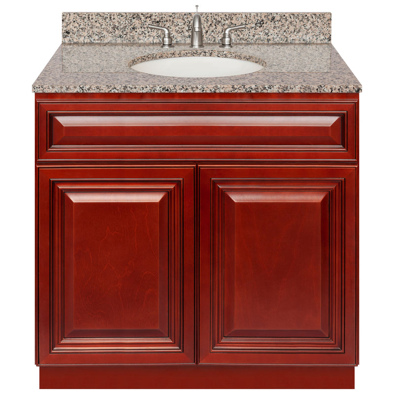 "Cherry Bathroom Vanity 36"", Burlywood Granite Top, Faucet LB4B BU378-36CH-4B"