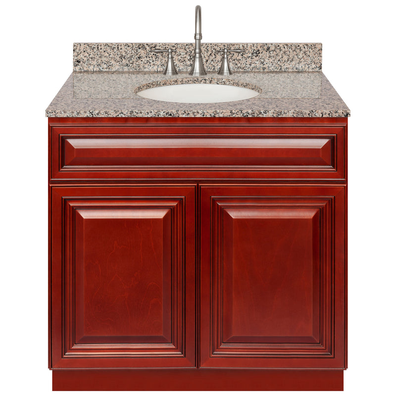 "Cherry Bathroom Vanity 36"", Burlywood Granite Top, Faucet LB7B BU378-36CH-7B"
