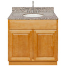 "Brown Bathroom Vanity 36"", Burlywood Granite Top, Faucet LB7B BU378-36RC-7B"