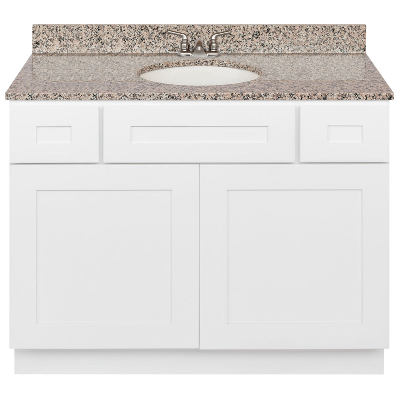 "White Bathroom Vanity 42"", Burlywood Granite Top, Faucet LB3B BU434-42AW-3B"