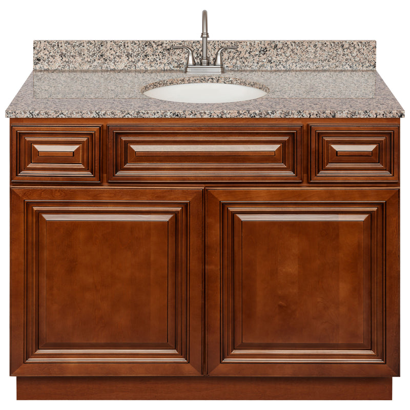 "Brown Bathroom Vanity 42"", Burlywood Granite Top, Faucet LB6B BU434-42GN-6B"