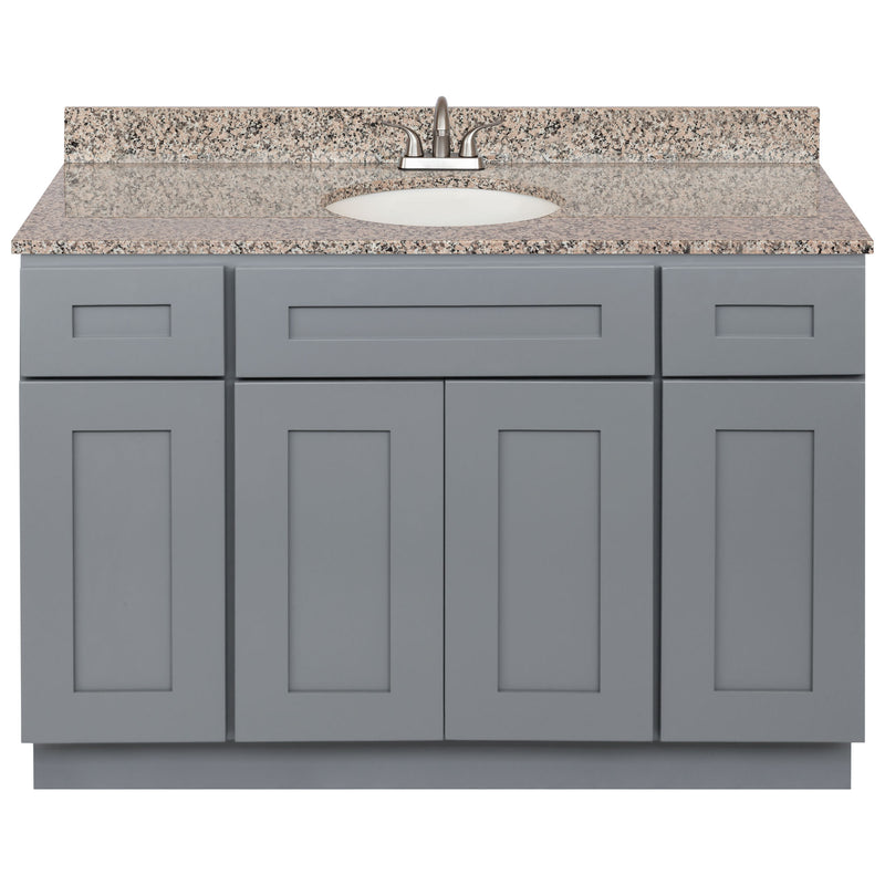"Cherry Bathroom Vanity 48"", Burlywood Granite Top, Faucet LB5B BU494-48CG-5B"
