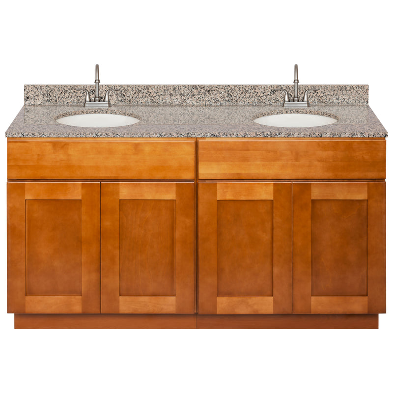 "Brown Double Bathroom Vanity 60"", Burlywood Granite Top, Faucet LB6B BU614-60NP-6B"