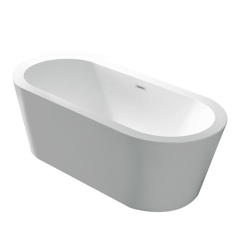 Anzzi Ares 5.5' Center Drain Freestanding Bathtub in Glossy White