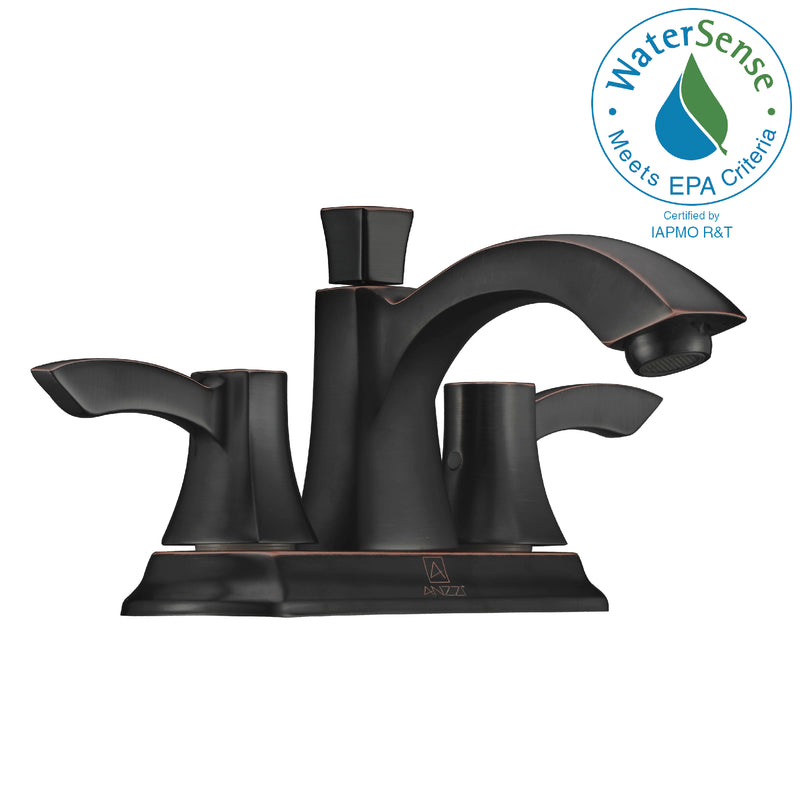 "Anzzi Vista Series 4"" Centerset 2-Handle Mid-Arc Bathroom Faucet in Oil Rubbed Bronze"