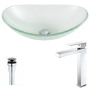 Anzzi Forza Series Deco-Glass Vessel Sink in Lustrous Frosted with Enti Faucet in Chrome