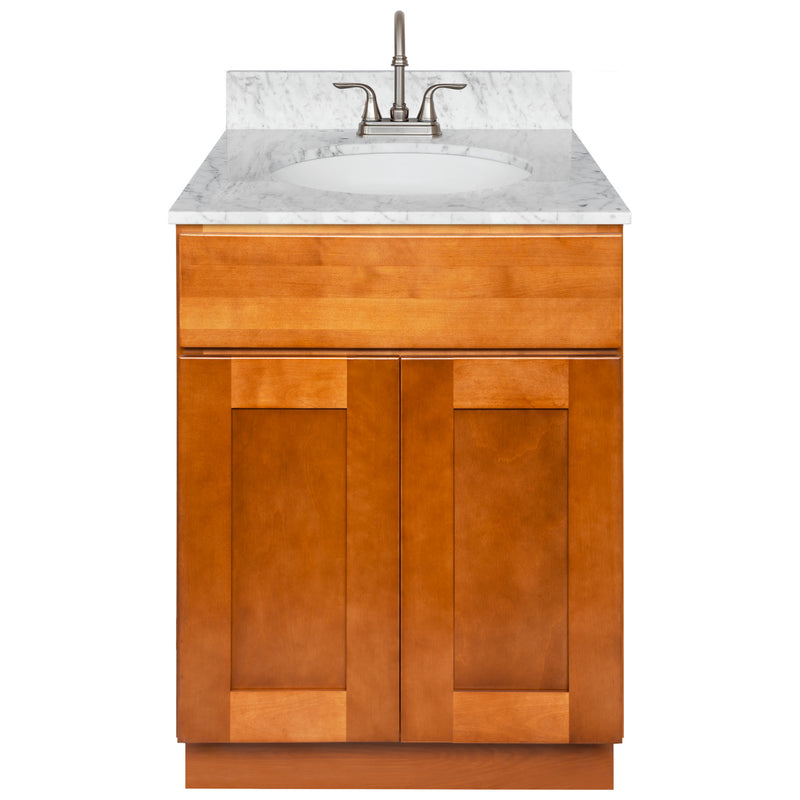 "Brown Bathroom Vanity 24"", Cara White Marble Top, Faucet LB6B CW254-24NP-6B"