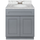 "Cherry Bathroom Vanity 30"", Cara White Marble Top, Faucet LB3B CW314-30CG-3B"