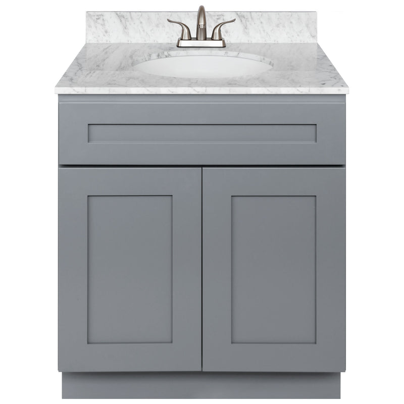"Cherry Bathroom Vanity 30"", Cara White Marble Top, Faucet LB5B CW314-30CG-5B"