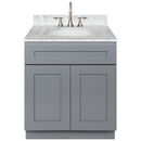 "Cherry Bathroom Vanity 30"", Cara White Marble Top, Faucet LB7B CW318-30CG-7B"