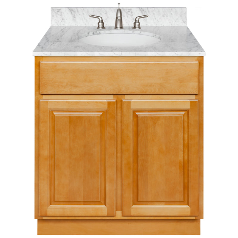 "Brown Bathroom Vanity 30"", Cara White Marble Top, Faucet LB4B CW318-30RC-4B"