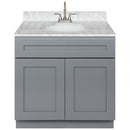 "Cherry Bathroom Vanity 36"", Cara White Marble Top, Faucet LB6B CW374-36CG-6B"