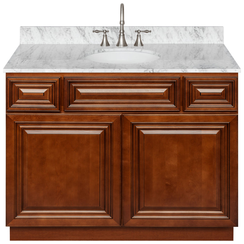 "Brown Bathroom Vanity 42"", Cara White Marble Top, Faucet LB7B CW438-42GN-7B"