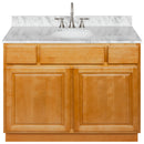 "Brown Bathroom Vanity 42"", Cara White Marble Top, Faucet LB7B CW438-42RC-7B"