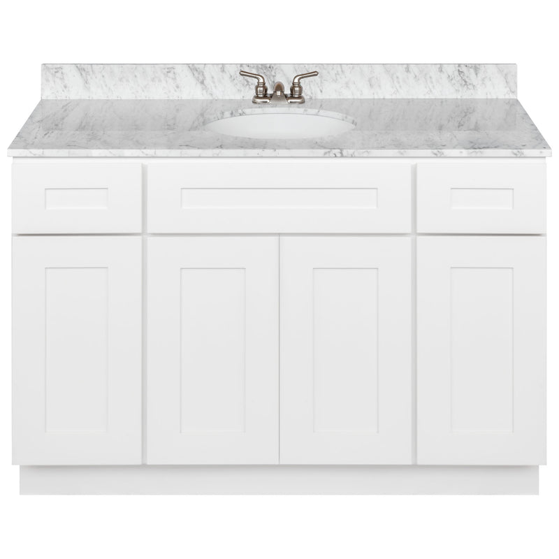 "White Bathroom Vanity 48"", Cara White Marble Top, Faucet LB3B CW494-48AW-3B"