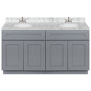 "Cherry Double Bathroom Vanity 60"", Cara White Marble Top, Faucet LB5B CW614-60CG-5B"
