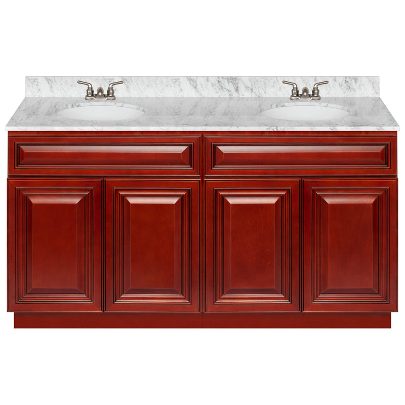 "Cherry Double Bathroom Vanity 60"", Cara White Marble Top, Faucet LB3B CW614-60CH-3B"