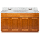 "Brown Double Bathroom Vanity 60"", Cara White Marble Top, Faucet LB3B CW614-60NP-3B"