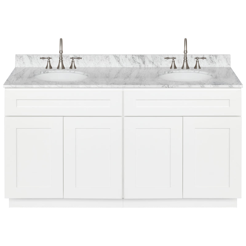 "White Double Bathroom Vanity 60"", Cara White Marble Top, Faucet LB7B CW618-60AW-7B"