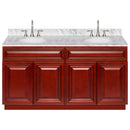 "Cherry Double Bathroom Vanity 60"", Cara White Marble Top, Faucet LB7B CW618-60CH-7B"