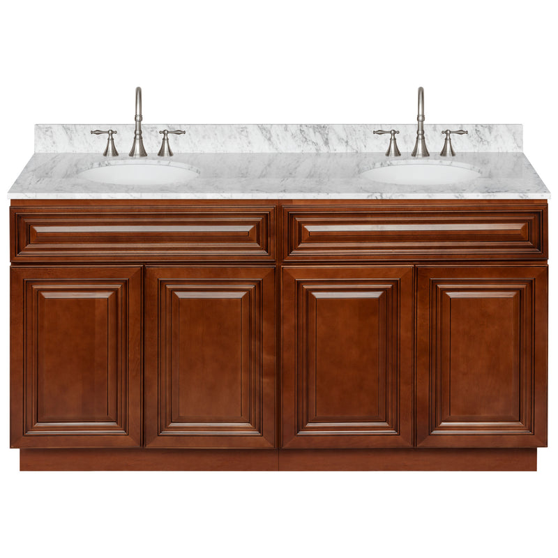 "Brown Double Bathroom Vanity 60"", Cara White Marble Top, Faucet LB7B CW618-60GN-7B"