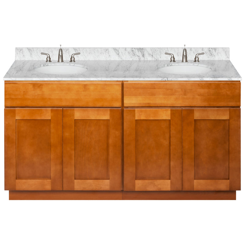 "Brown Double Bathroom Vanity 60"", Cara White Marble Top, Faucet LB4B CW618-60NP-4B"