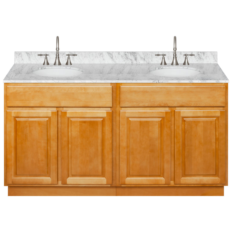 "Brown Double Bathroom Vanity 60"", Cara White Marble Top, Faucet LB7B CW618-60RC-7B"