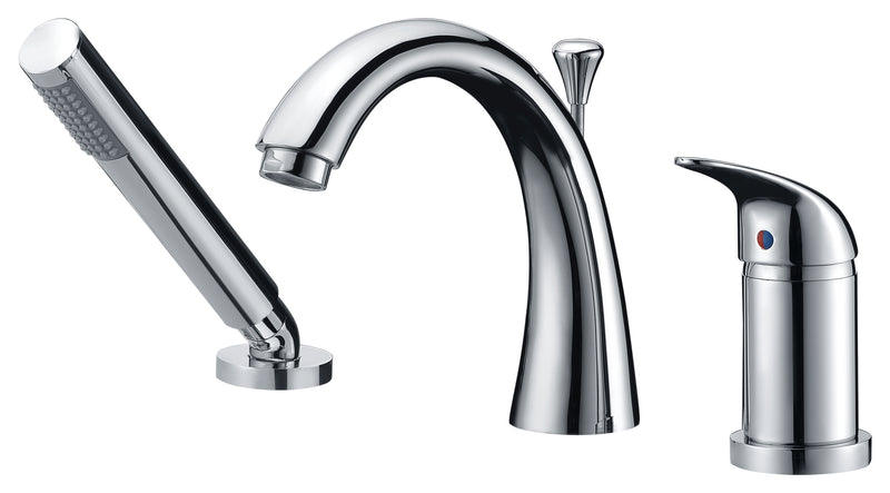 Anzzi Den Series Single Handle Deck-Mount Roman Tub Faucet with Handheld Sprayer in Polished Chrome