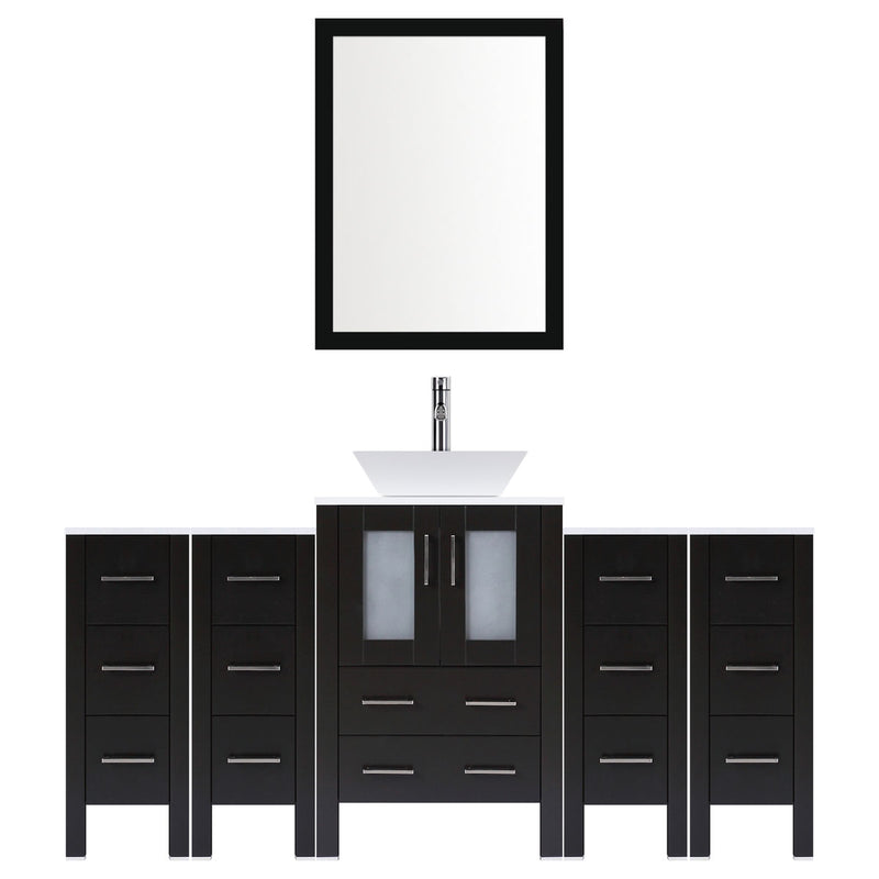 "LessCare 72"" Modern Bathroom Vanity Set with Mirror and Sink LV2-C7-72-B (Espresso)"