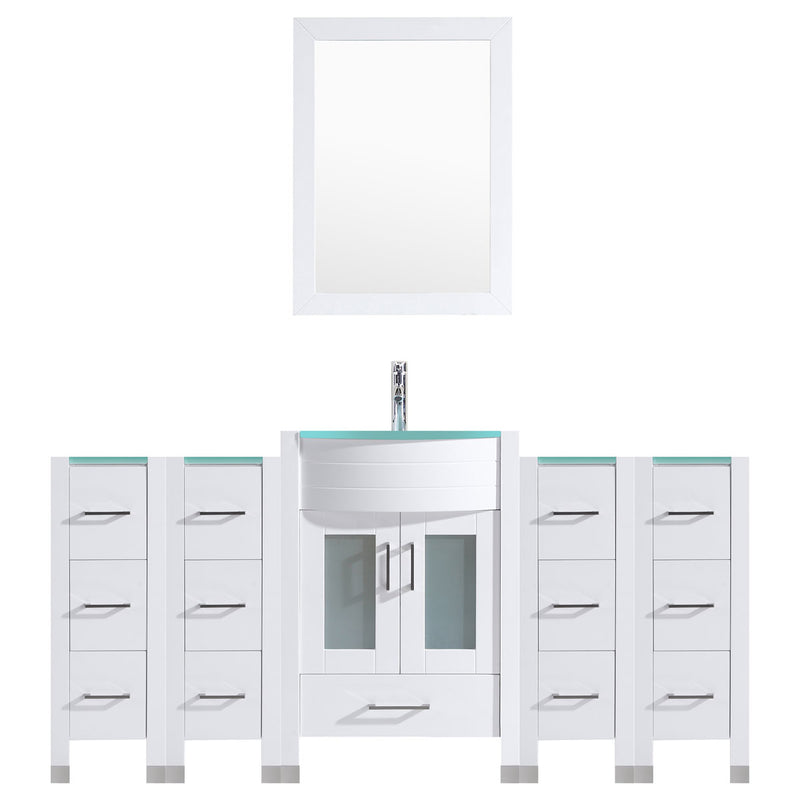 LessCare 78 White Vanity Set - One 30 Sink Base, Four 12 Drawer Bases (LV3-C8-78-W)