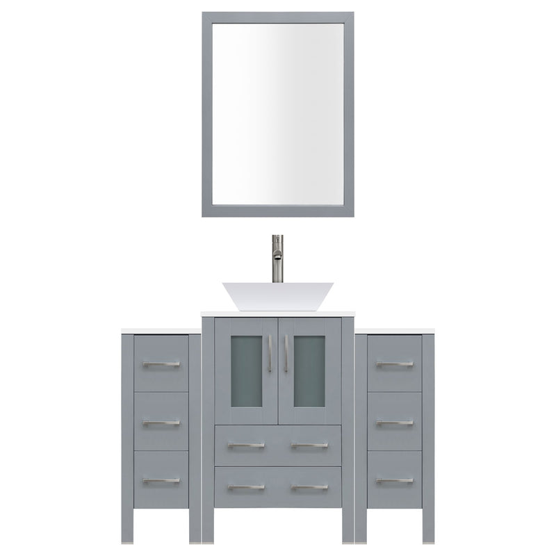 "LessCare 60"" Modern Bathroom Vanity Set with Mirror and Sink LV2-C6-60-G (Gray)"