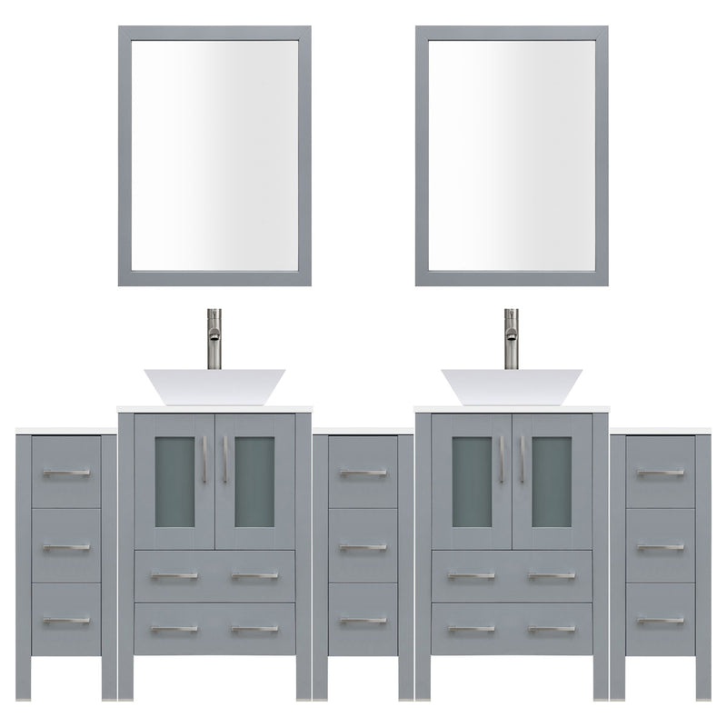 "LessCare 84"" Modern Bathroom Vanity Set with Mirror and Sink LV2-C19-84-G (Gray)"