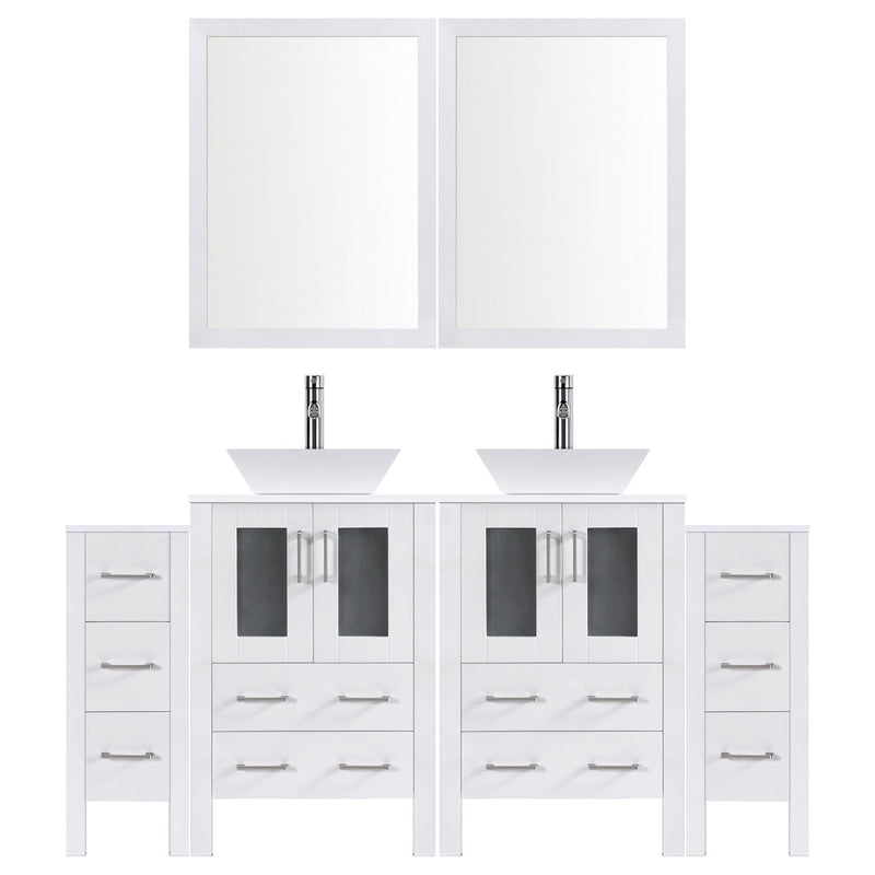 "LessCare 96"" Modern Bathroom Vanity Set with Mirror and Sink LV2-C18-96-W (White)"