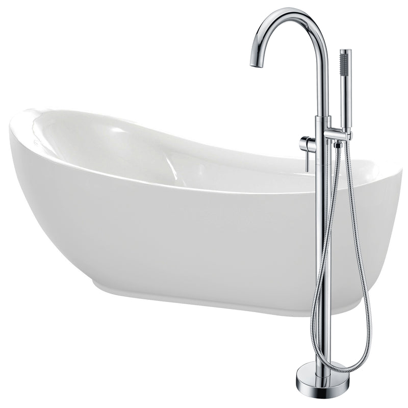 "Anzzi Talyah 71"" Acrylic Flatbottom Non-Whirlpool Bathtub in White with Kros Faucet in Polished Chrome"