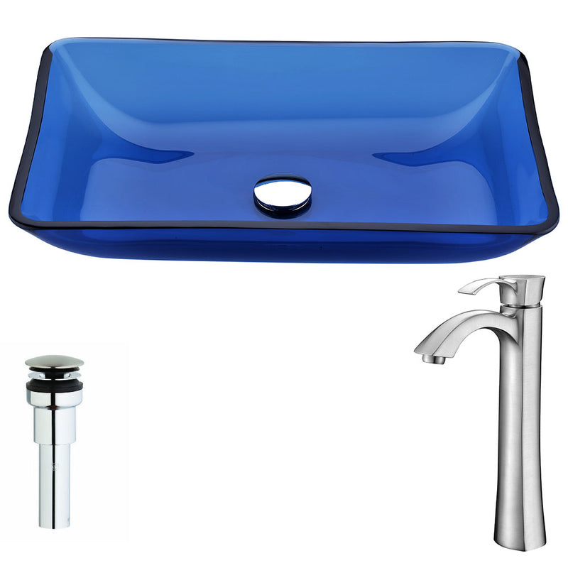 Anzzi Harmony Series Deco-Glass Vessel Sink in Cloud Blue with Harmony Faucet in Brushed Nickel