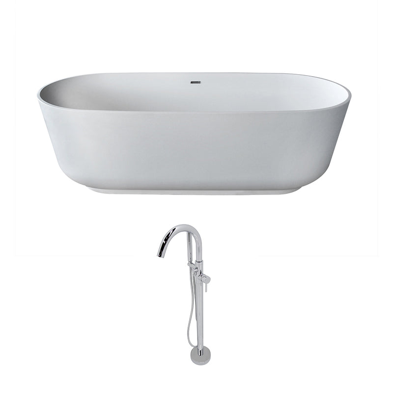 Anzzi Sabbia 5.9' Man-Made Stone Classic Soaking Bathtub in Matte White and Kros Faucet in Chrome