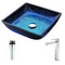 Anzzi Viace Series Deco-Glass Vessel Sink in Blazing Blue with Enti Faucet in Brushed Nickel