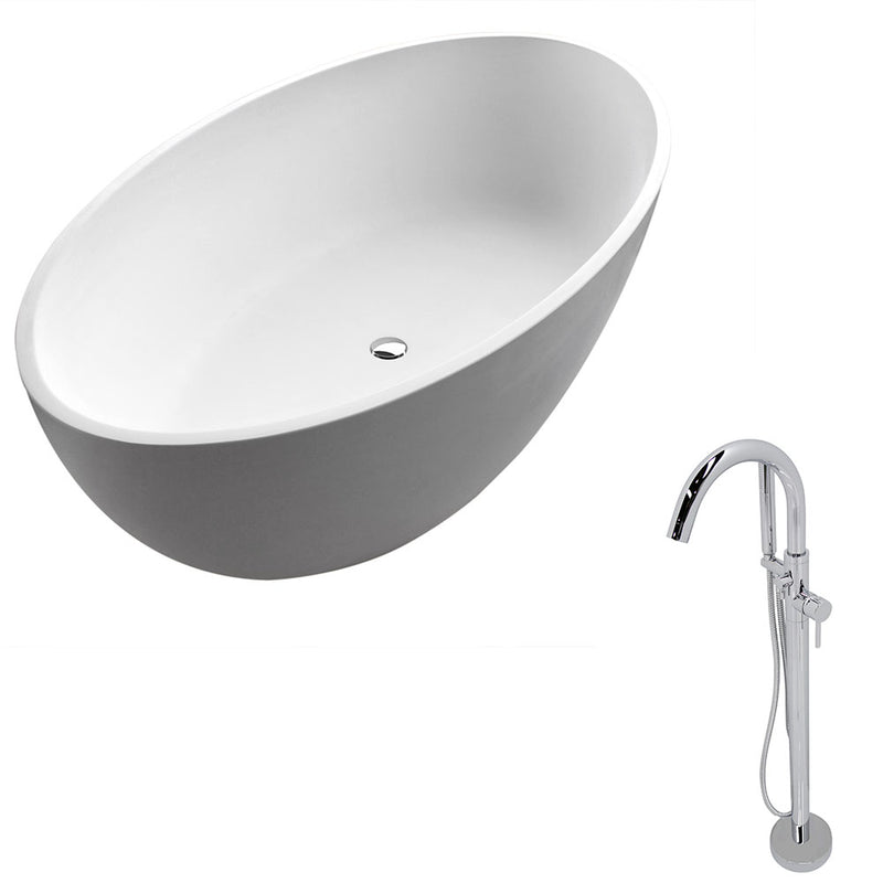 Anzzi Cestino 5.5' Man-Made Stone Classic Soaking Bathtub in Matte White and Kros Faucet in Chrome