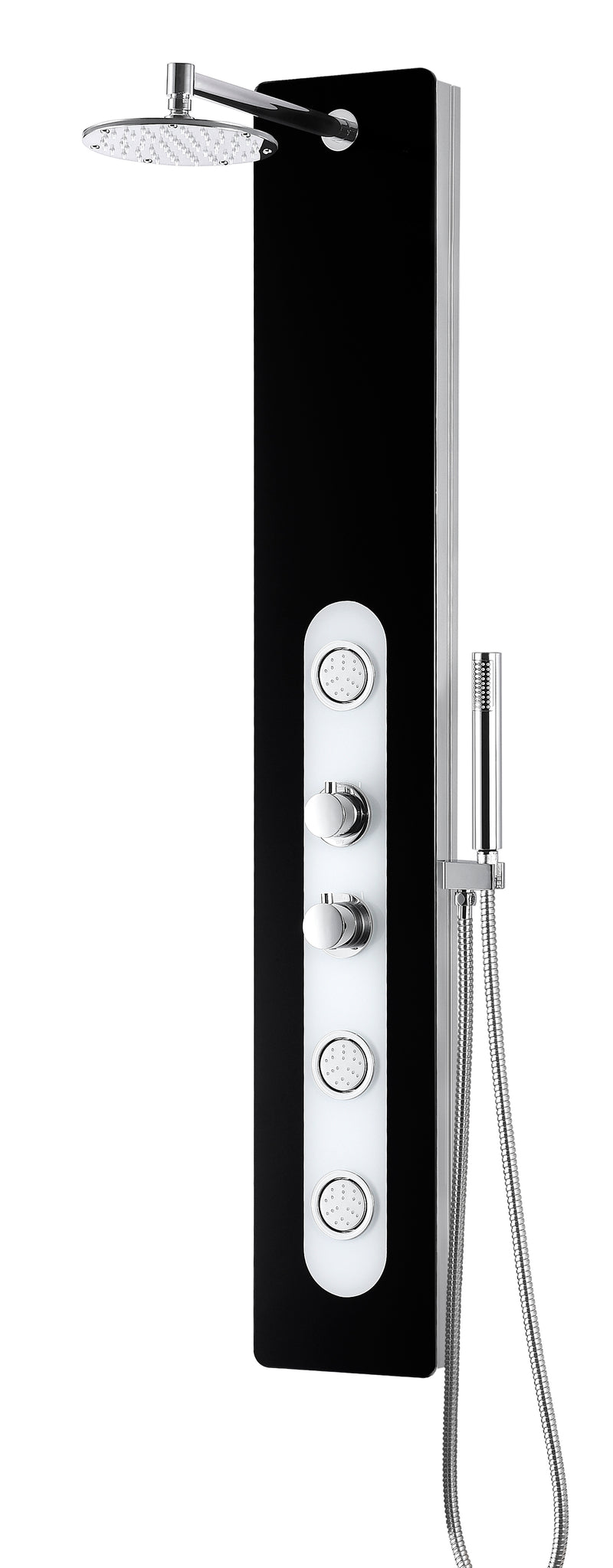 "Anzzi Lande Series 56"" Full Body Shower Panel System with Heavy Rain Shower and Spray Wand in Black"
