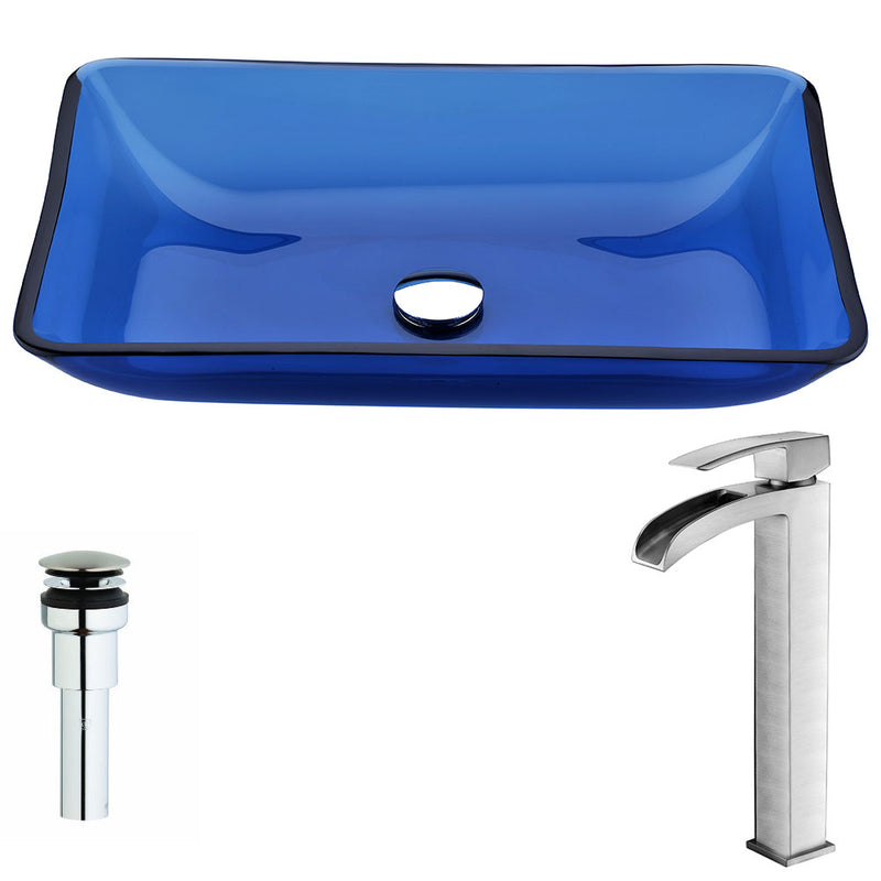 Anzzi Harmony Series Deco-Glass Vessel Sink in Cloud Blue with Key Faucet in Brushed Nickel