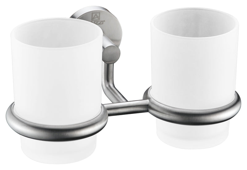 "Anzzi Caster Series 7.36"" Double Toothbrush Holder in Brushed Nickel"