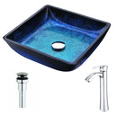 Anzzi Viace Series Deco-Glass Vessel Sink in Blazing Blue with Harmony Faucet in Chrome