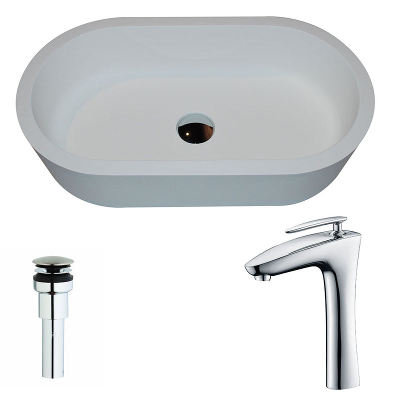 Anzzi Vaine 1-Piece Man Made Stone Vessel Sink in Matte White with Crown Faucet in Chrome