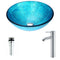 Anzzi Accent Series Deco-Glass Vessel Sink in Blue Ice with Fann Faucet in Chrome