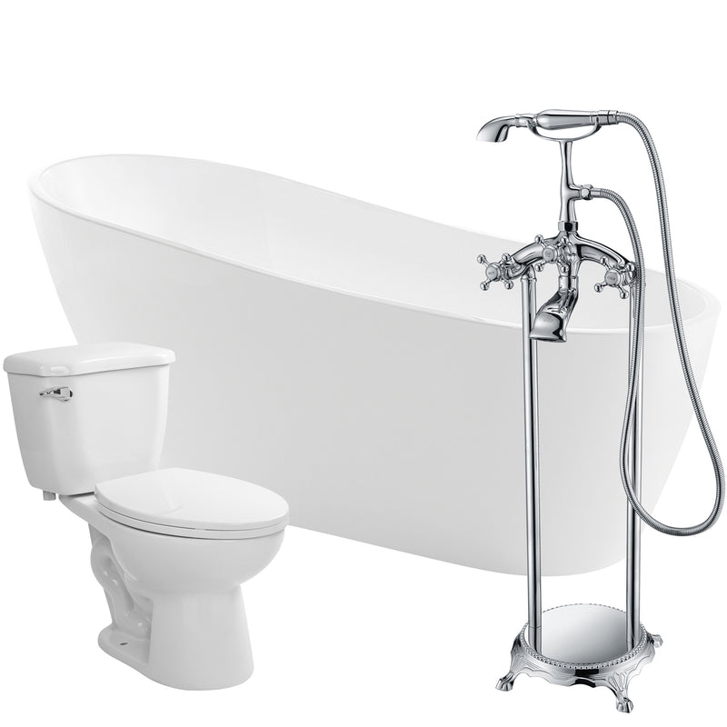 "Anzzi Trend 67"" Acrylic Flatbottom Non-Whirlpool Bathtub with Tugela Faucet and Kame 1.28 GPF Toilet"